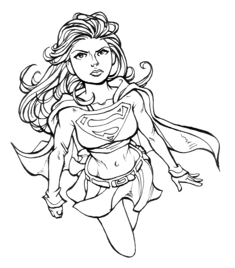 Coloring Pages For Adults Superheroes : Printable supergirl coloring pages for girls super hero