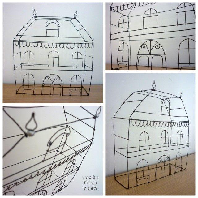 fil de fer - wire houses | Wire,Paper Mache. | Pinterest | Wire art ...