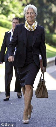 Christine Lagarde Working A Chic Austin Reed Suit And Hermes Bag And Scarf Elegant Work Wear Work Outfits Women Power Dressing