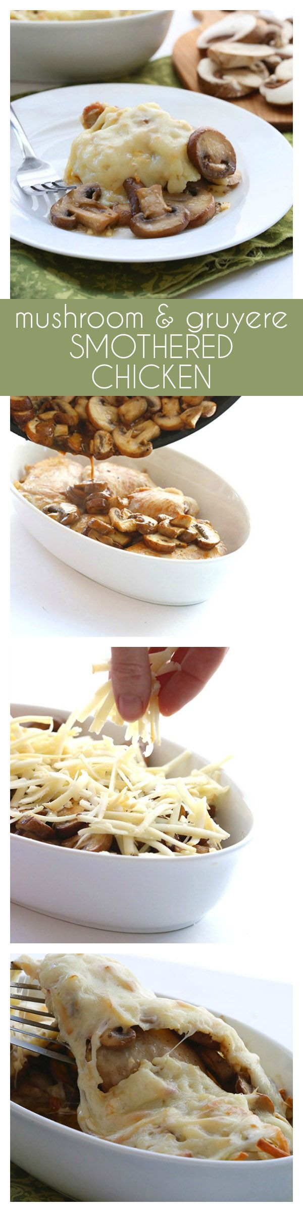 The best low carb dinner recipe! Browned chicken thighs smothered in sautéed mushrooms and cheese and baked to perfection.