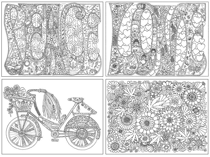 colour book hippie coloring - Hippie Coloring Book