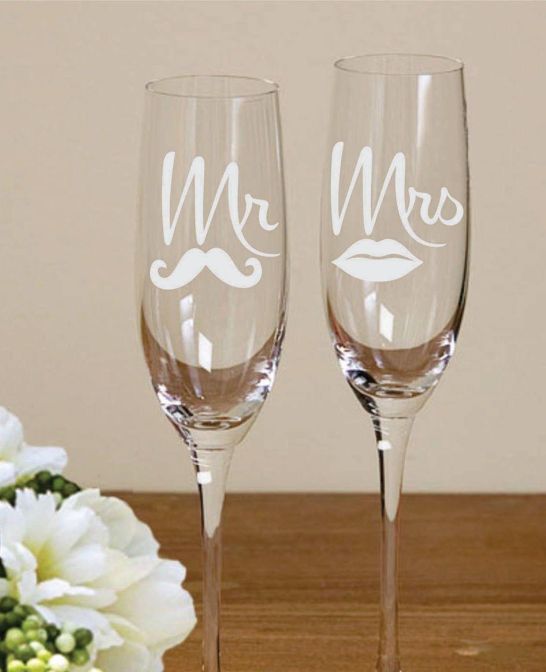 Bride Groom Mr Mrs Lips Moustache Etched Flutes Toasting Glasses ...