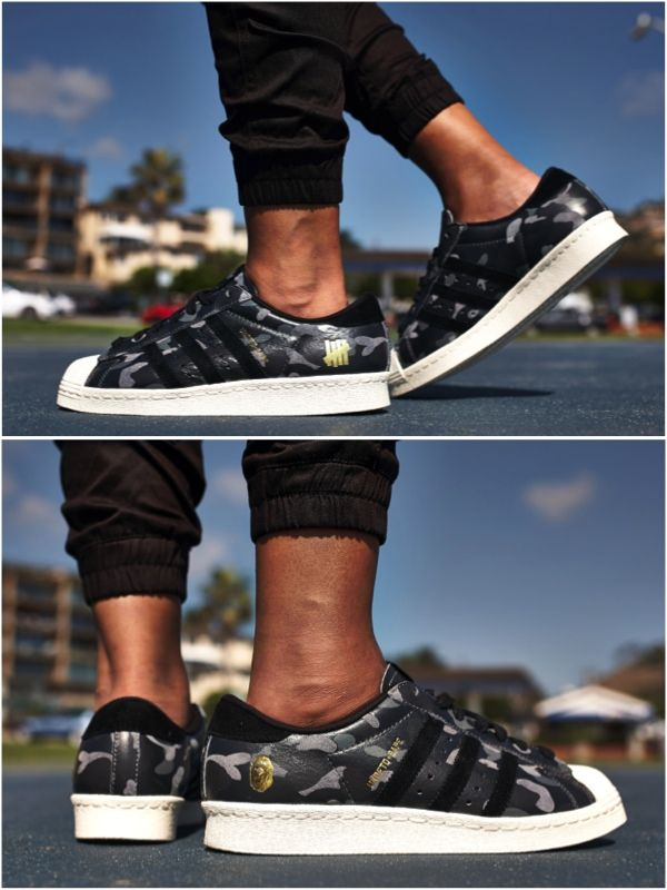 "03ba13179d0 ON-FOOT LOOK    BAPE X UNDFTD X ADIDAS SUPERSTAR ""BLACK CAMO"""