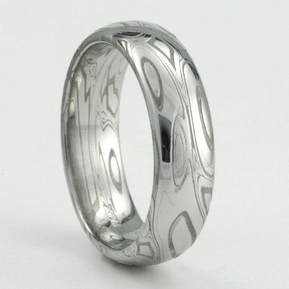 Damascus Steel Ring with Rose Gold Mokume Shakudo and Rose ... |Damascus Steel Rings For Women