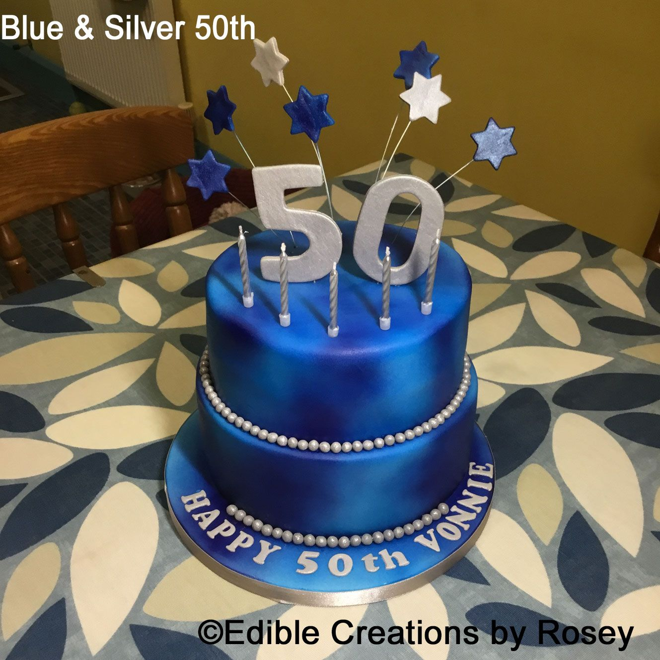 Blue silver 50th birthday cake by Edible Creations by Rosey