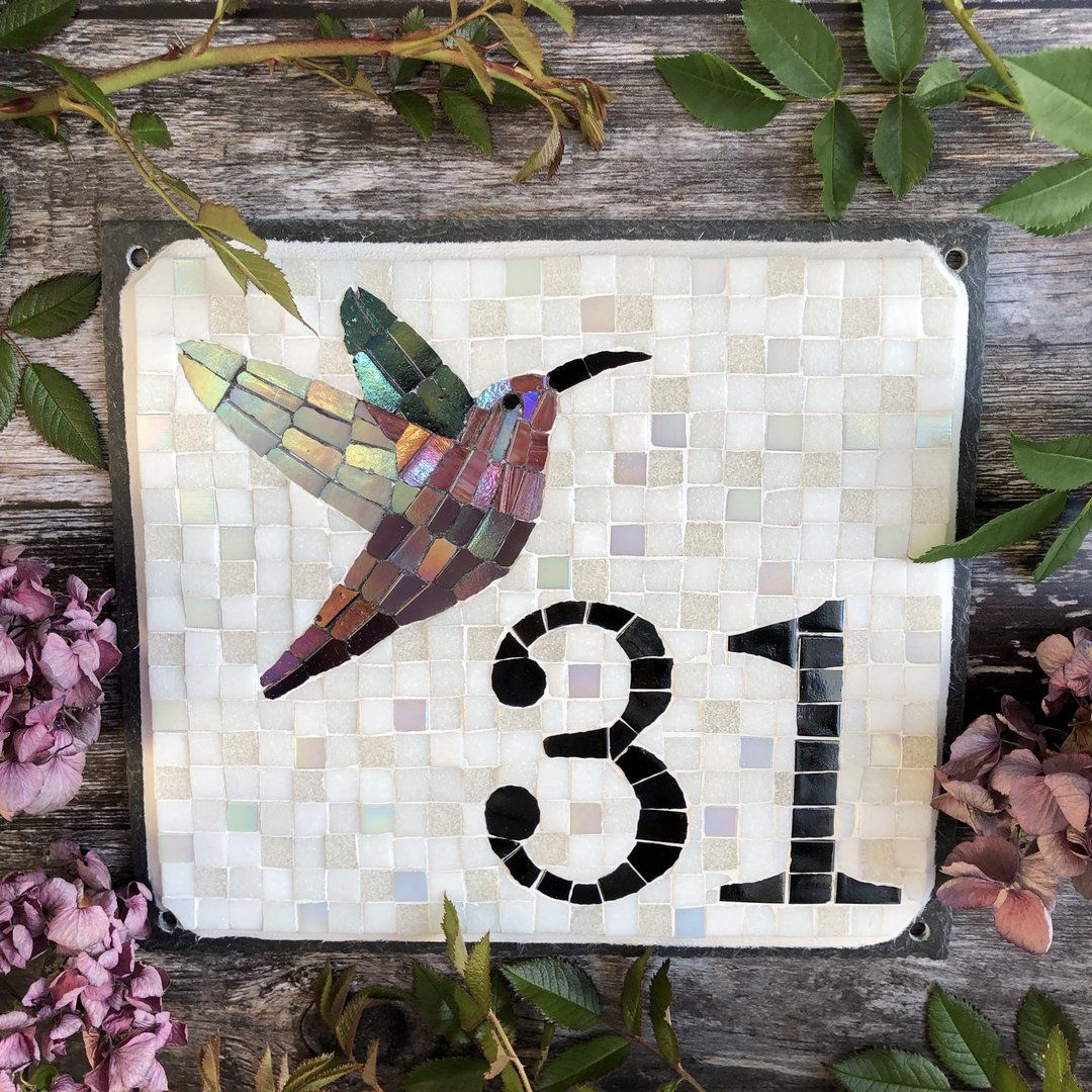 Mosaic house number with a Hummingbird in 2020 Mosaic