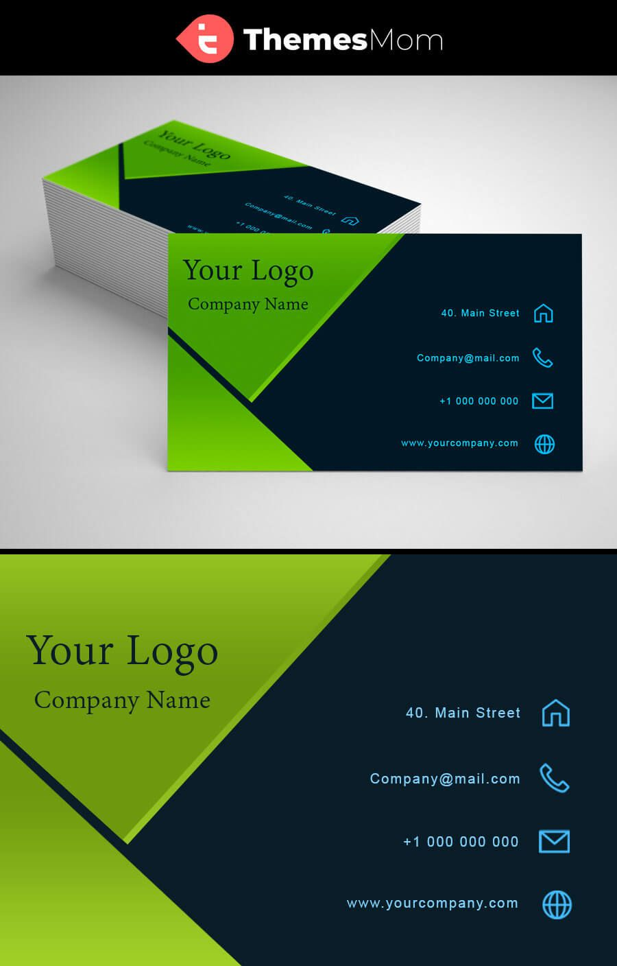 Dark Green Business Visiting Card Themesmom Visiting Cards Free Business Card Templates Boutique Business Cards