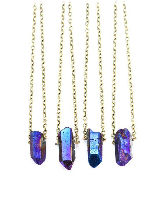 Blaue Quarz-Kristall-Anhänger Halskette - natürlichem Quarz Kugel Stein Aura - Vintage Boho Festival Bronze Kette - Heilstein - kurze Halskette