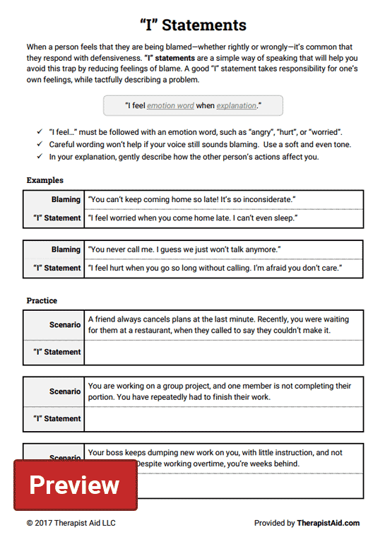 I Statements Great Communication Skill For Couples To Use I Am Statements Therapy Worksheets Assertive Communication
