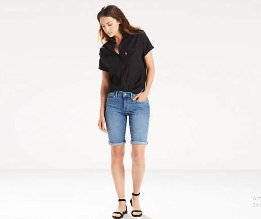 White 18 Mossimo Women/'s Mid Rise Bermuda Denim Cuffed Jean Shorts Size