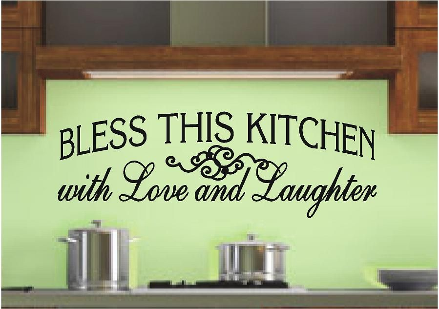 bless this kitchen with love and laughter kitchen wall decals kitchen wall decor quotes on kitchen decor quotes wall decals id=33333