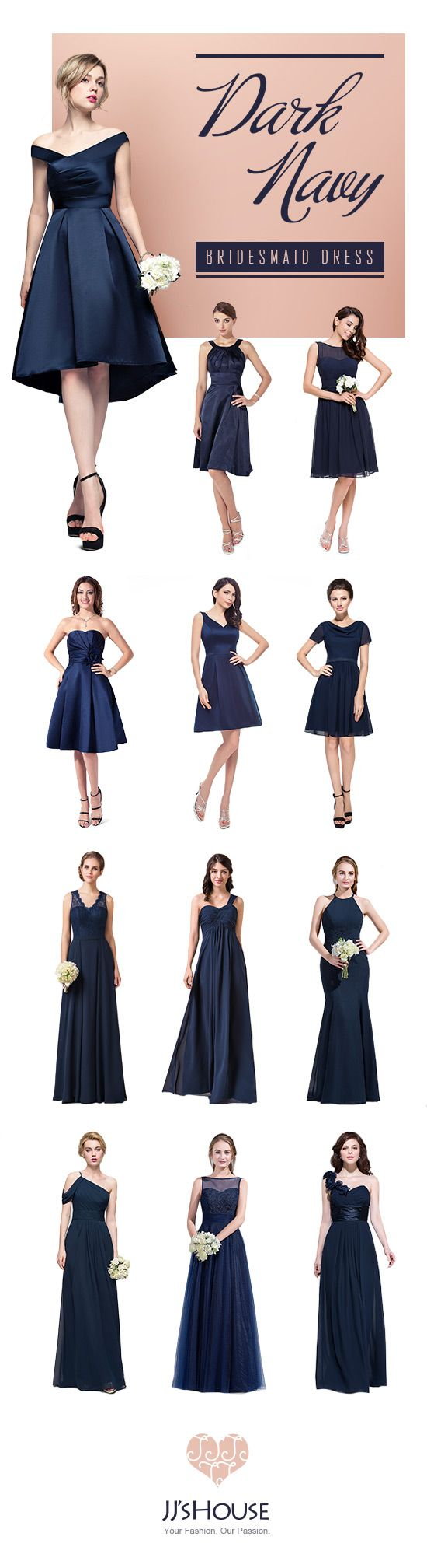 Dark Navy Bridesmaid Dress! #Bridesmaiddress | Dresses | Pinterest ...