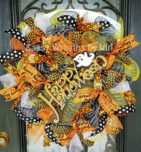 Check out this item in my Etsy shop https://www.etsy.com/listing/479118833/happy-halloween-ghost-wreath