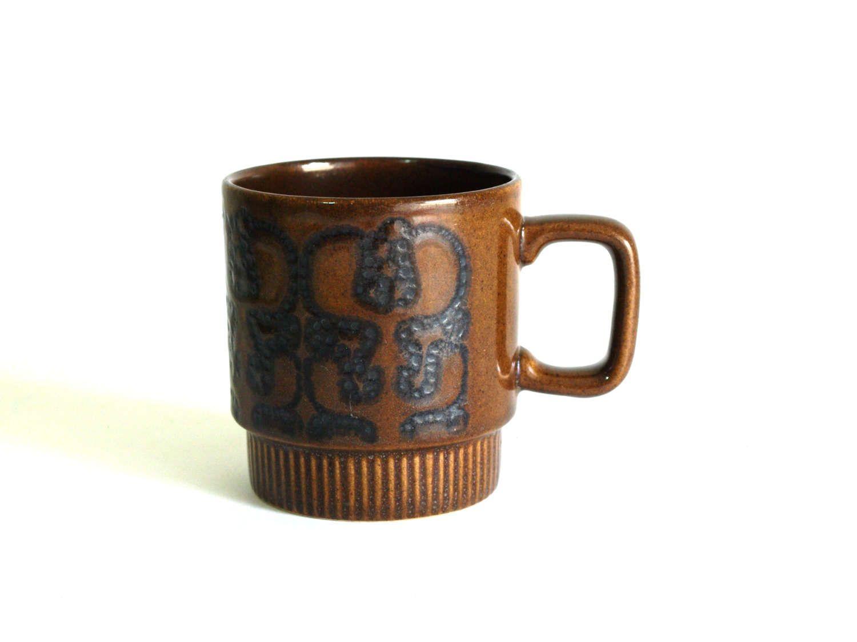 Crown Lynn Chocolate Brown Coffee Mug Kiwi Tiki Maori Brown Coffee Mugs Coffee Mugs