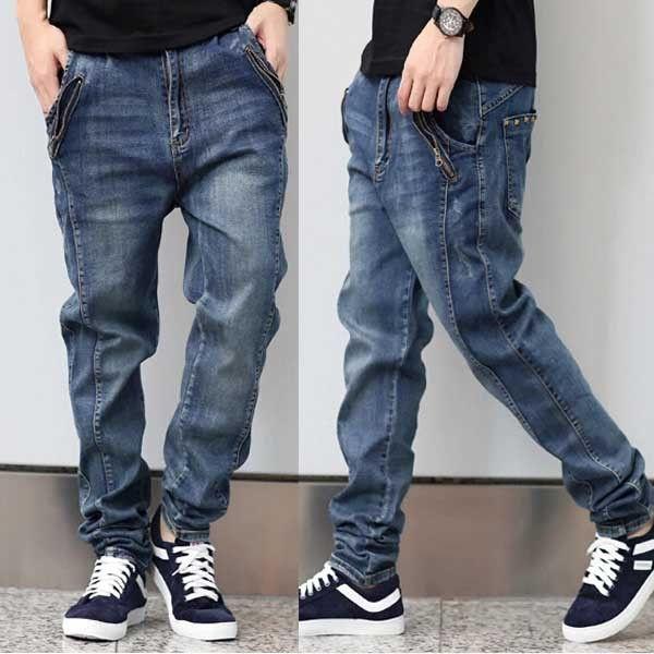 New Men's Clothing Stretch Denim Joggers Jeans Men Cotton Baggy ...
