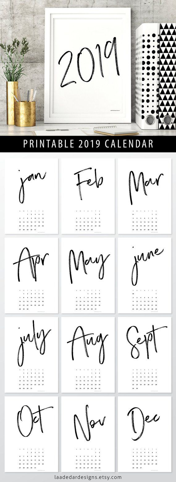 2019 Printable Calendar A4 Instant Download 12 Month New Year
