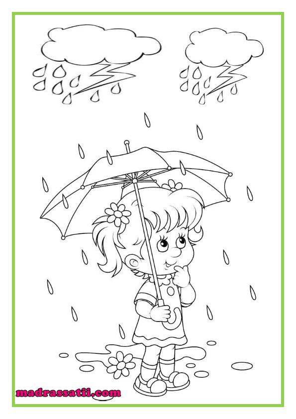 تلوين صور فصل الشتاء المطر موقع مدرستي Kindergarden Fictional Characters Art