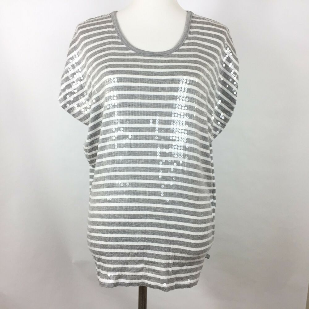 2b1af7db19b3 Michael Kors Womens Top Size M Gray White Striped Sequin Short Dolman Sleeve  #fashion #clothing #shoes #accessories #womensclothing #tops (ebay link)