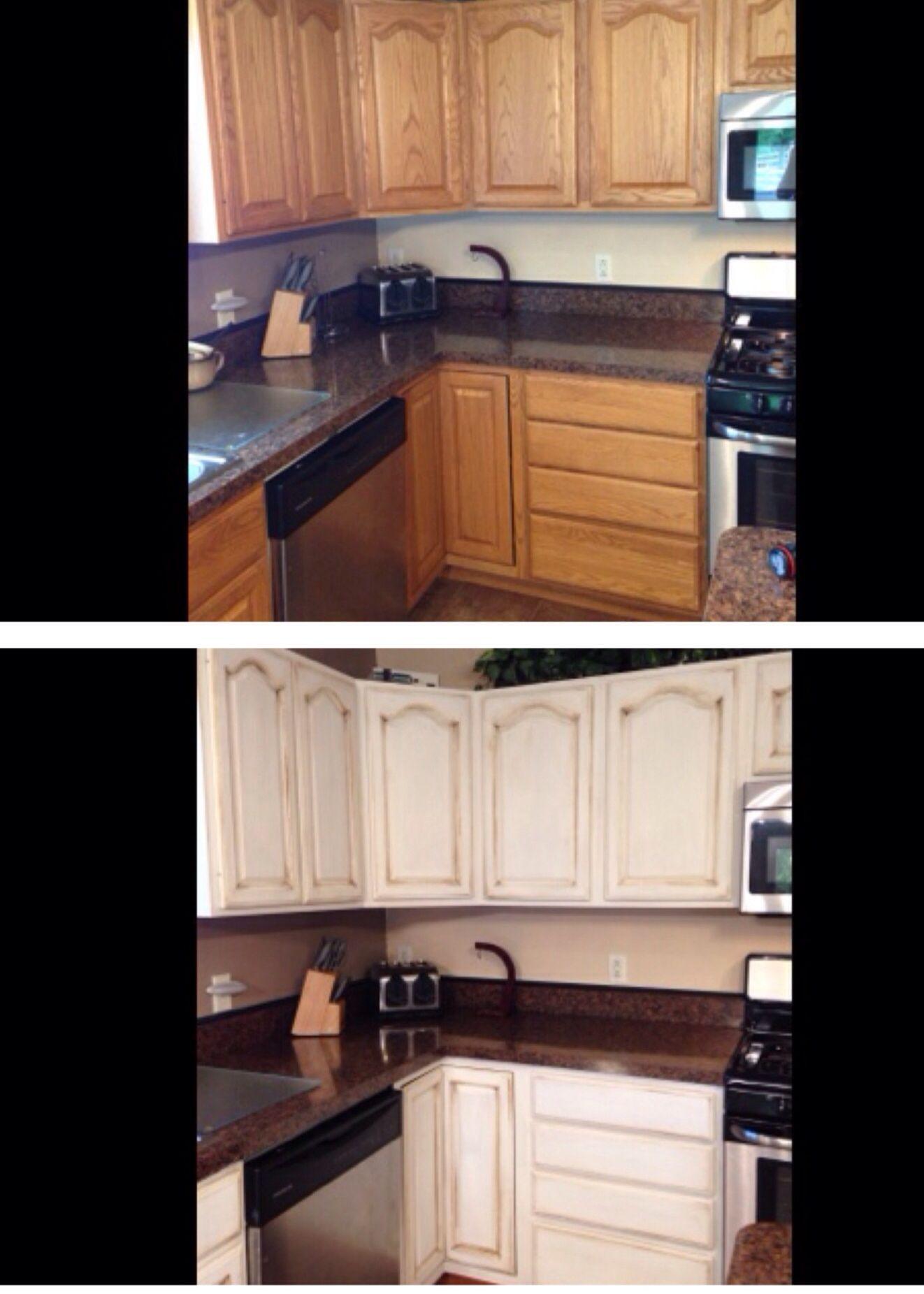 Diy Annie Sloan Chalk Paint Pure White With Dark Wax New Kitchen Cabinets Easy P Redo Kitchen Cabinets Diy Kitchen Countertops Annie Sloan Kitchen Cabinets
