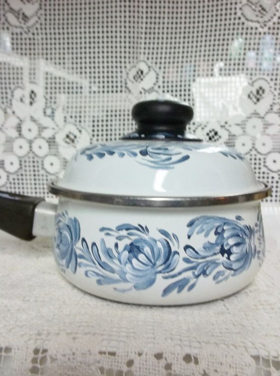 White Porcelain Enamelware Cookware Sauce Pan Hand Painted Design Blue And White Scandinavian Rosemaling Folk Art Enamelware White Porcelain Paint Designs
