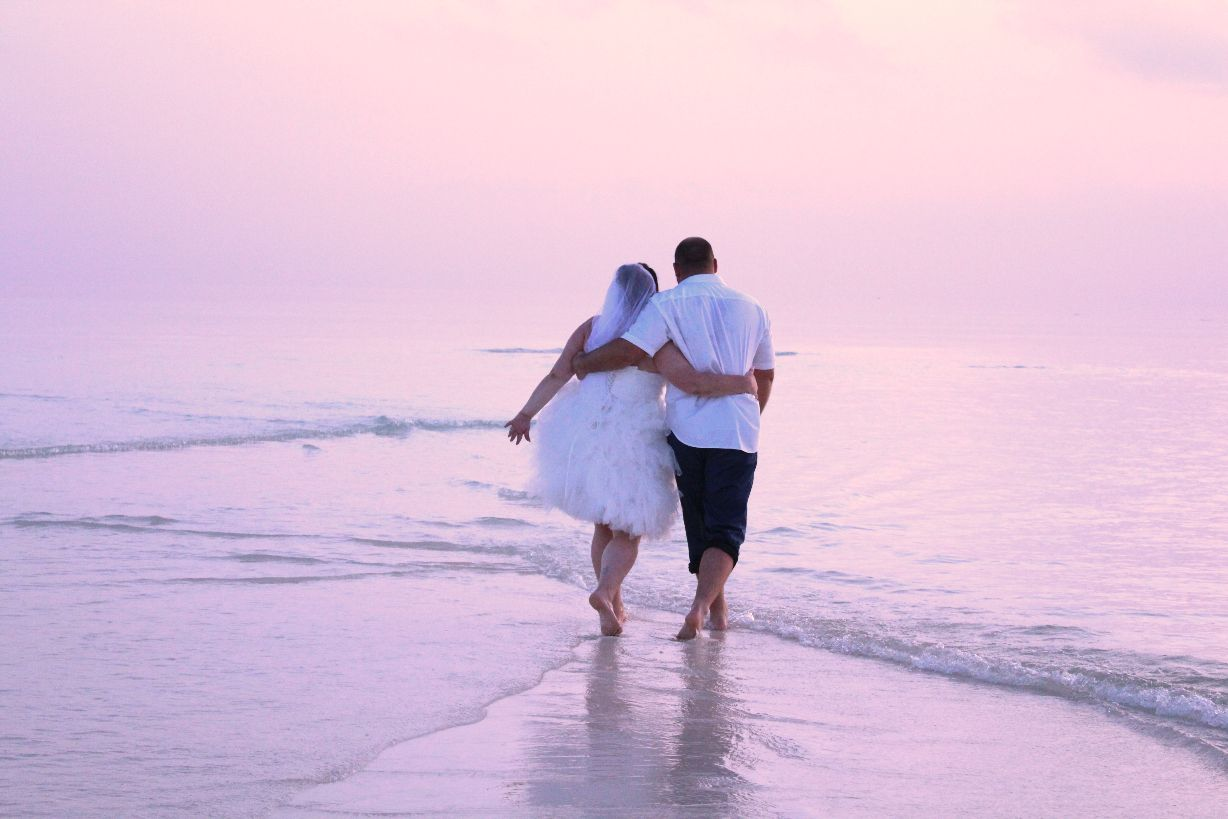 Lovely Couple Walking Together On The Beach At Sunset Vilubeach