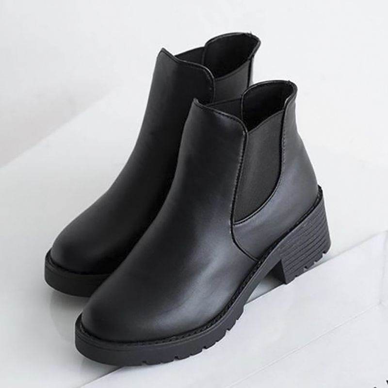 a1935ed49 New Women Block Heel Chelsea Boots Chunky Platform Black Ankle Boots ...