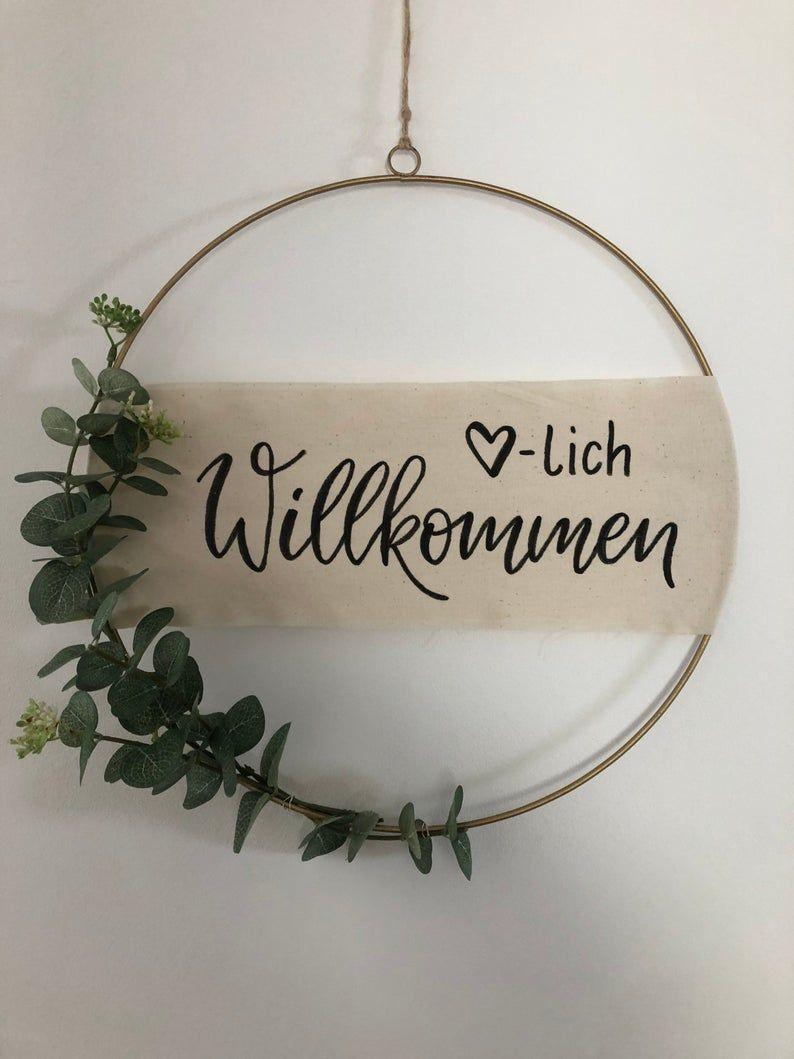Türkranz   Kranz   Metallring   Wanddeko  Eukalyptus   personalisierbar   Wunschtext
