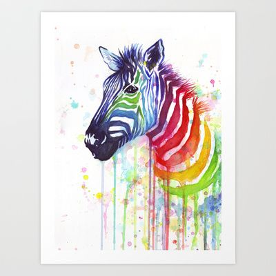 Rainbow Zebra Watercolor Painting | Ode to Fruit Stripes Art Print by Olechka - $17.00