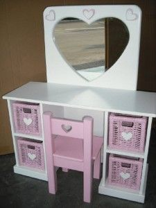 Little Girls Vanity Table And Chair Kids Room Decor In