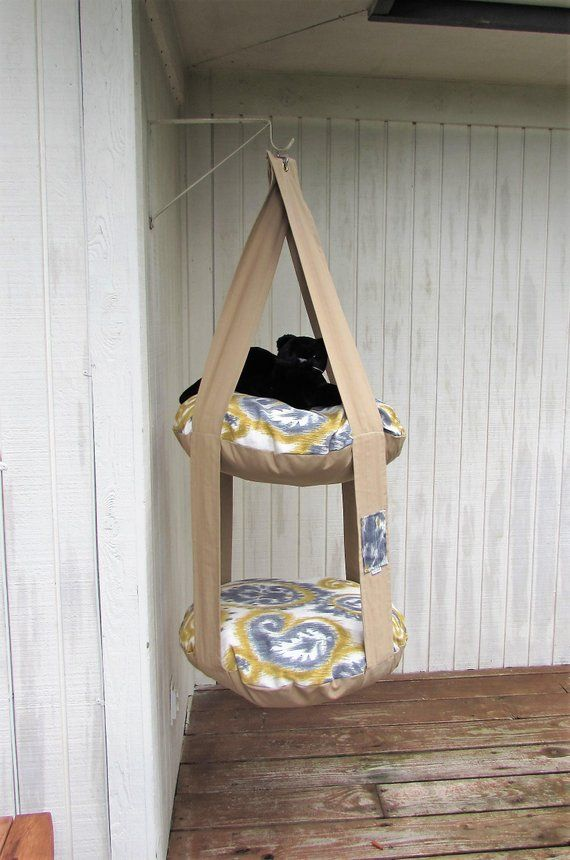 Outdoor Cat Bed Cream Blue Gold Giant Paisley 2 Level Kitty Cloud Hanging
