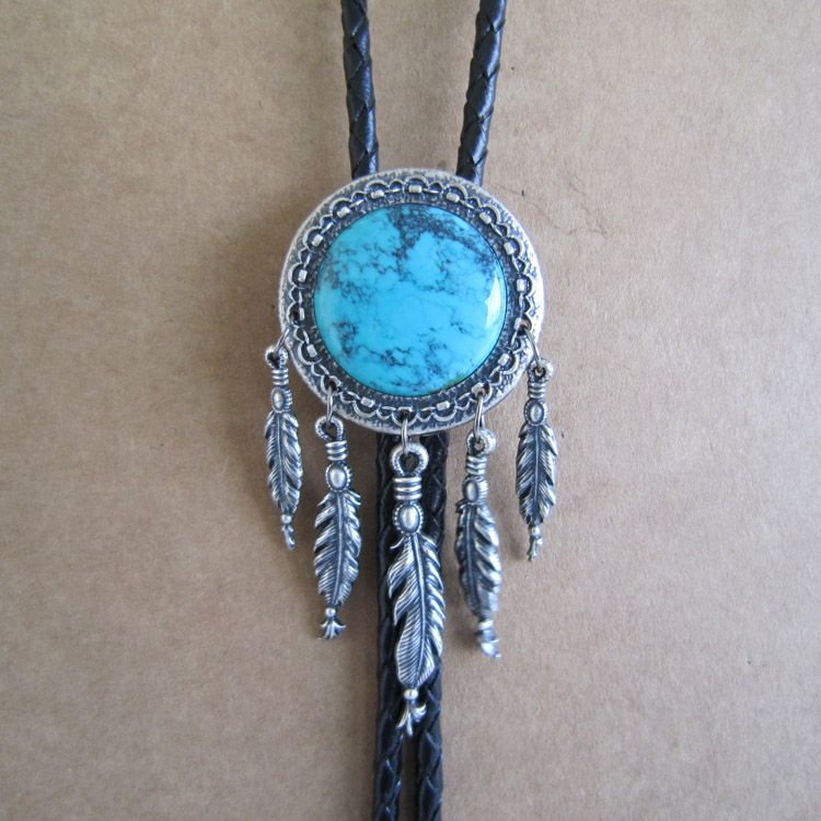 Silver Plated Oval Nature Turquoise Stone Bolo Tie