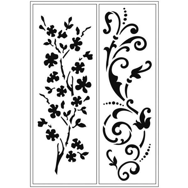 Öntapadós stencil, 15x28 cm - virágok I. - Art-Export webáruház