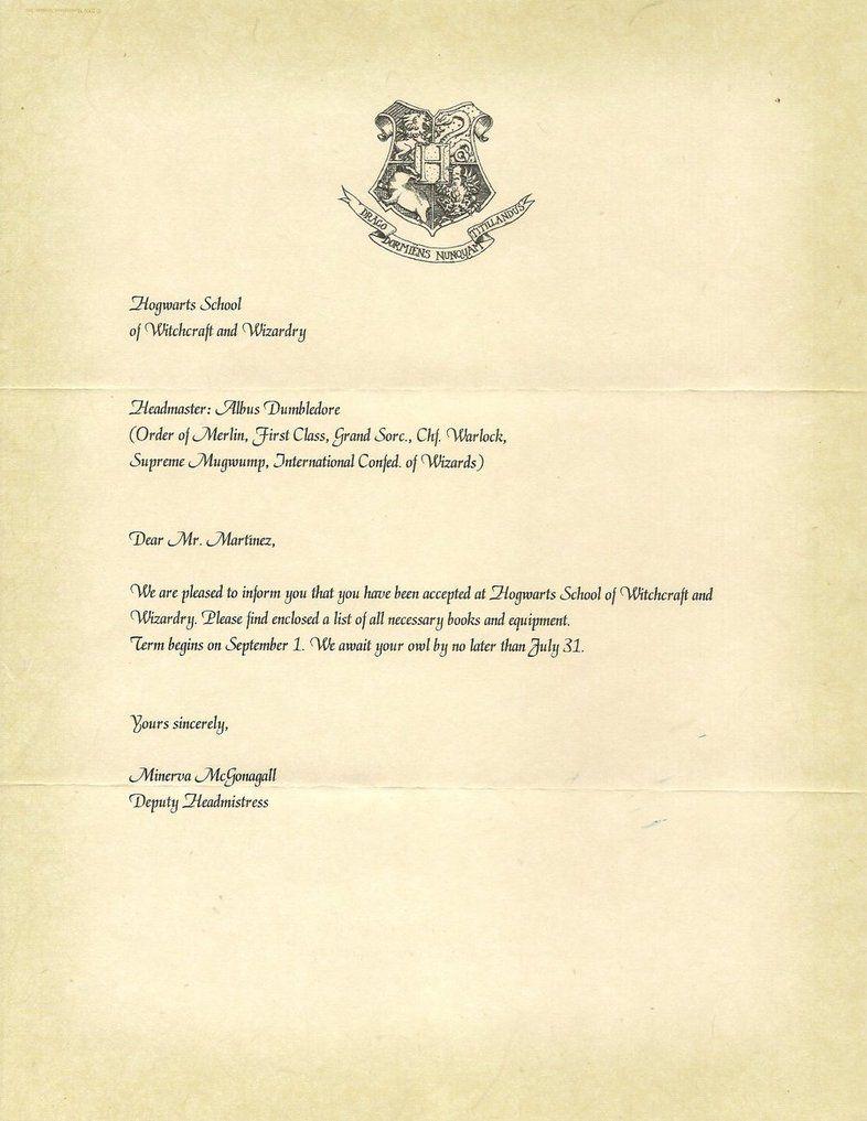 Hogwarts Acceptance Letter Letterhead Harry Potter – Hogwarts Acceptance Letter