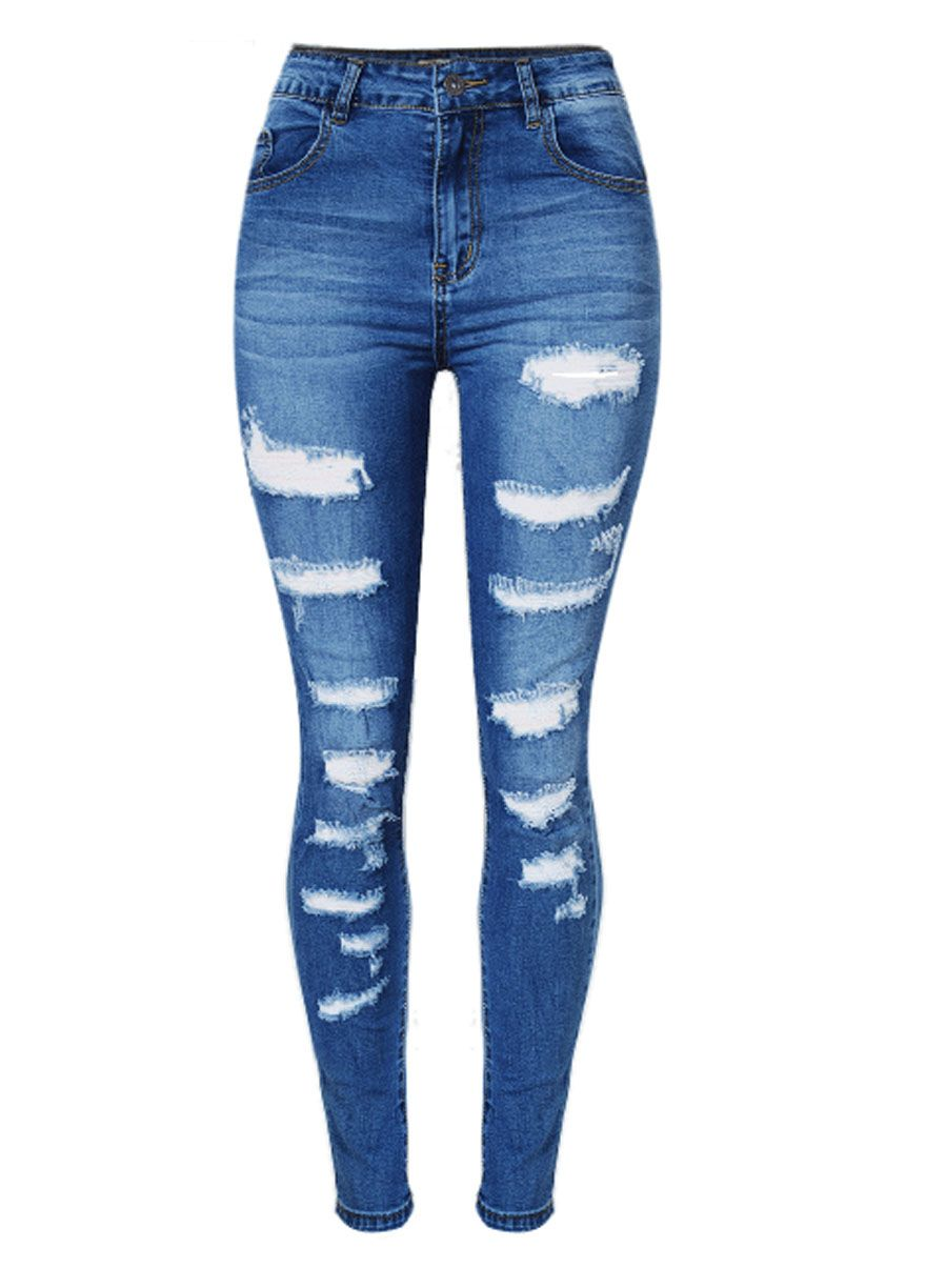 Blue Denim Destroyed Whisker Wash Skinny Jeans_Butt Lifting Skinny Jeans_Women Jeans_Sexy Lingeire | Cheap Plus Size Lingerie At Wholesale Price | Feelovely.com