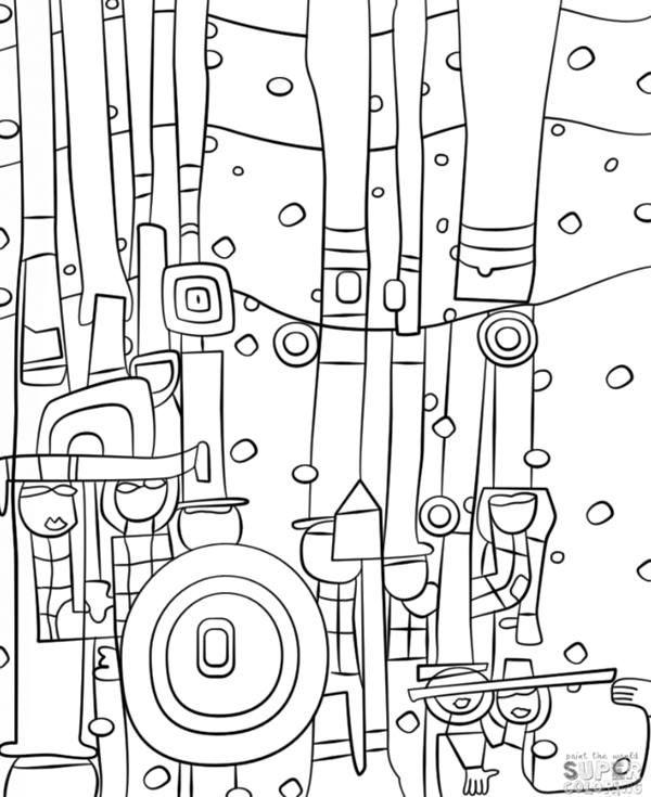 színezd újra nyomtatható hundertwasser grafika