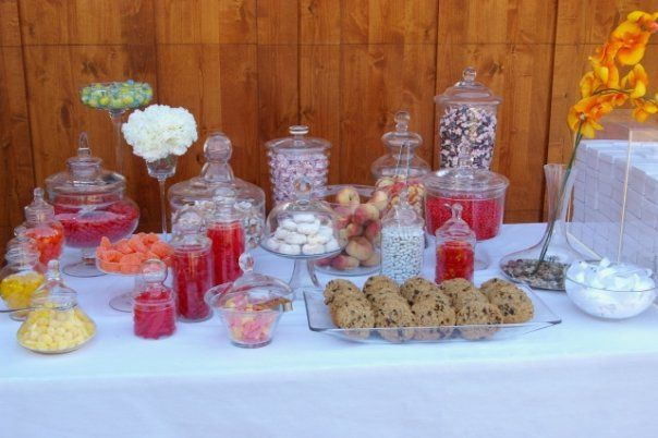 Candy Buffet Dollar Store Glass Jars Filled With Dollar Store Candy Candy Buffet Tables Candy Buffet Party Buffet