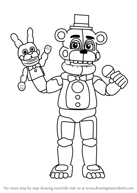How To Draw Funtime Freddy From Five Nights At Freddy S Drawingtutorials101 Com In 2020 Fnaf Coloring Pages Unicorn Coloring Pages Coloring Pages