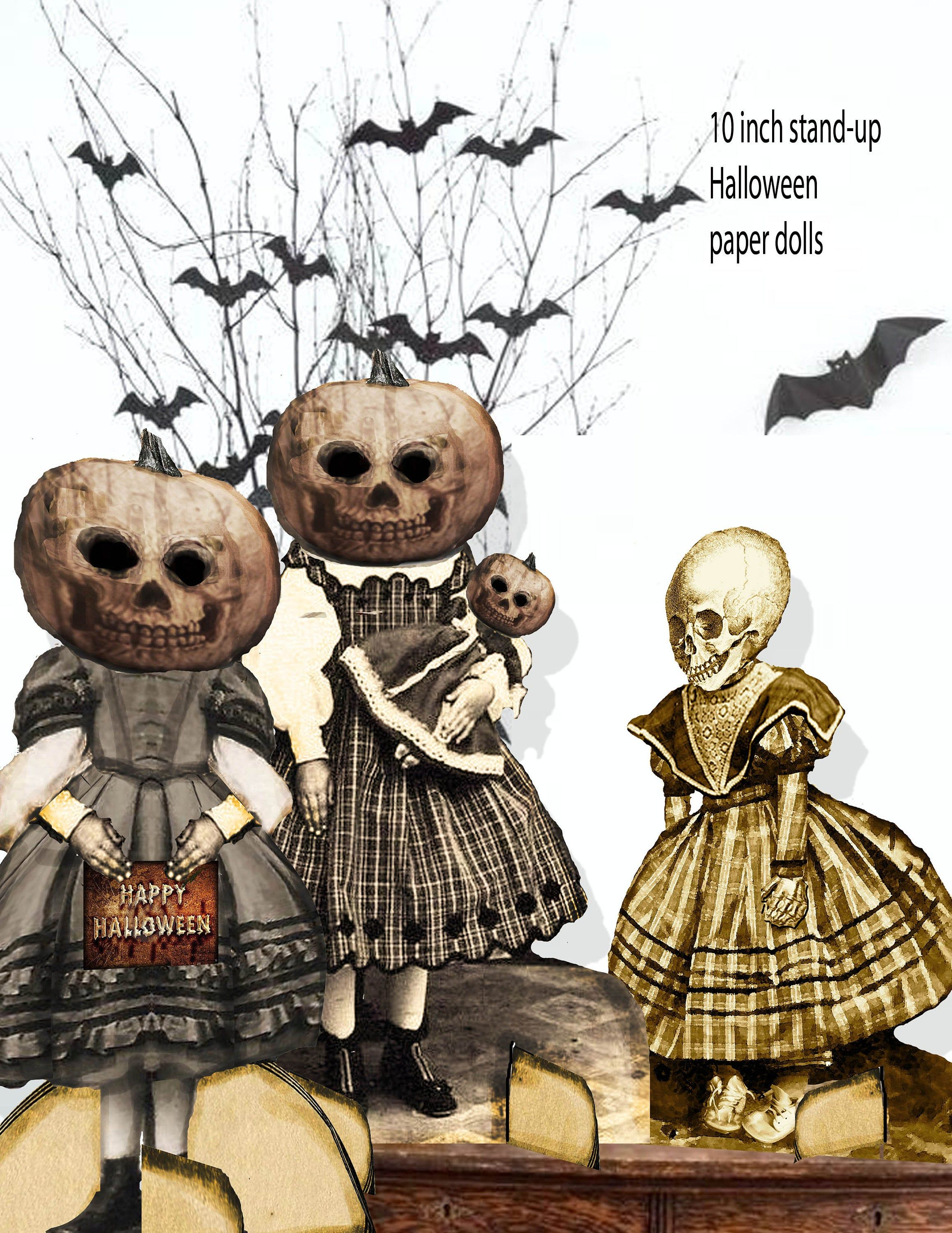 Halloween Printable Gothic Victorian Paper Skeletons And Etsy In 2020 Halloween Printables Free Halloween Printables Halloween Decorations To Make