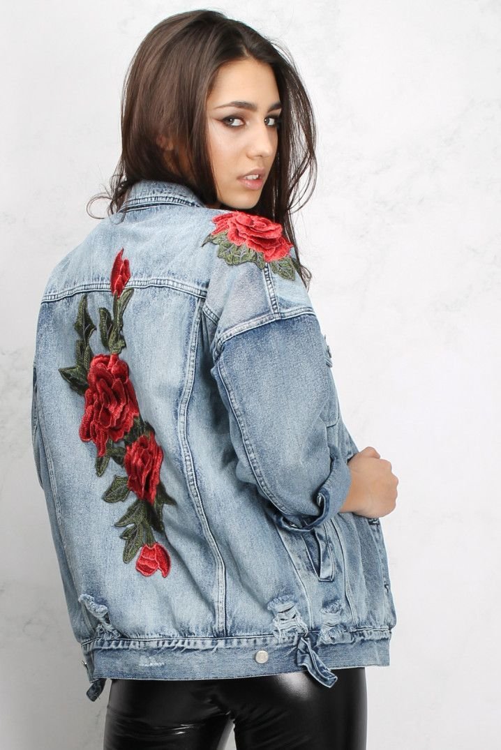 Rose Embroidered Denim Jacket Today Denim Jackets Y Embroidered