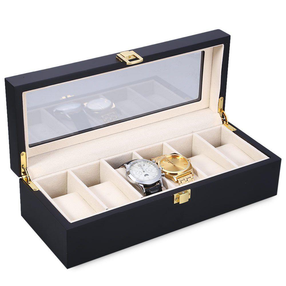 Reloj Relogios Uhr Box 6 Slots Holz Uhr Vitrine uhren Box Glass Top
