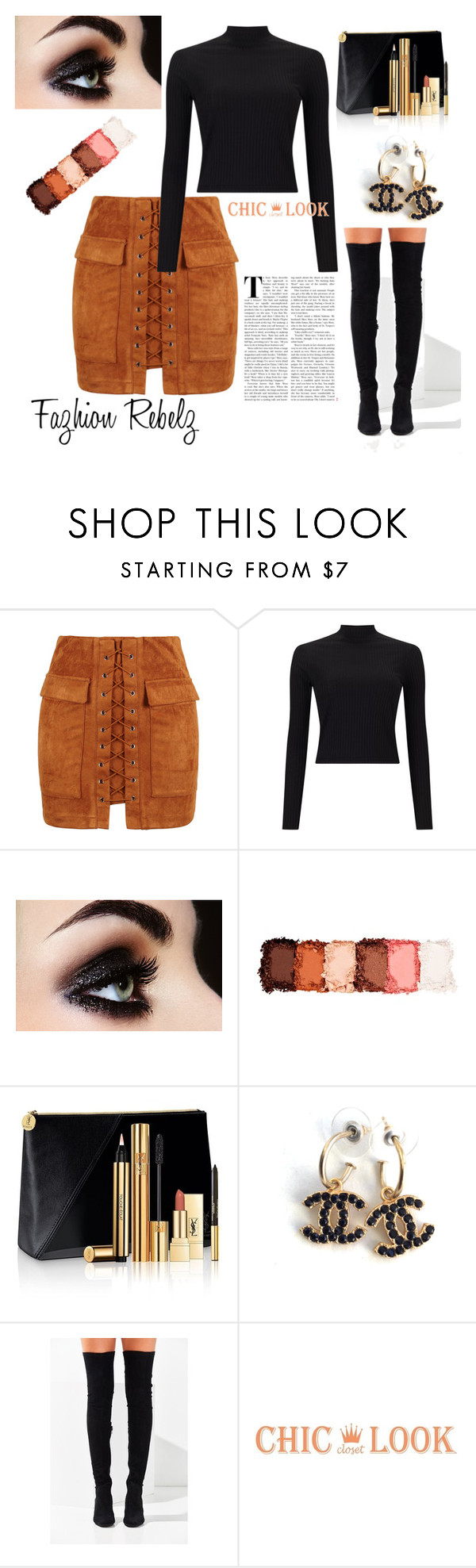 """""""Bold"""" by shaquanna-keith ❤ liked on Polyvore featuring WithChic, Miss Selfridge, NYX, Yves Saint Laurent, Chanel and Jeffrey Campbell"""