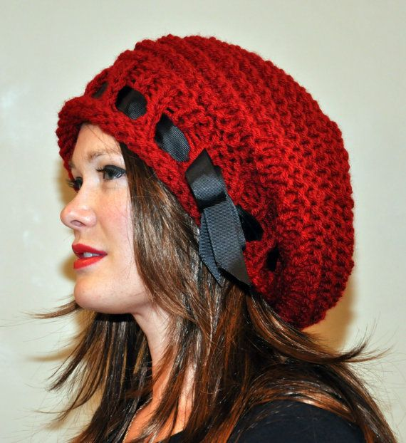 30200649934fe Slouchy Beanie Slouch Hat Oversized Beret CHOOSE COLOR Knit Knitted ...