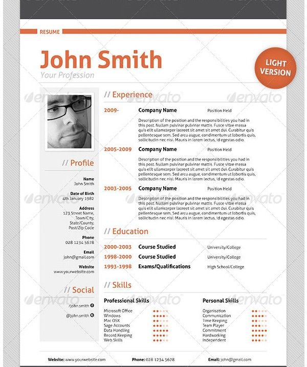 Professional Resume Cv Template  Mac Resume Template  Great For