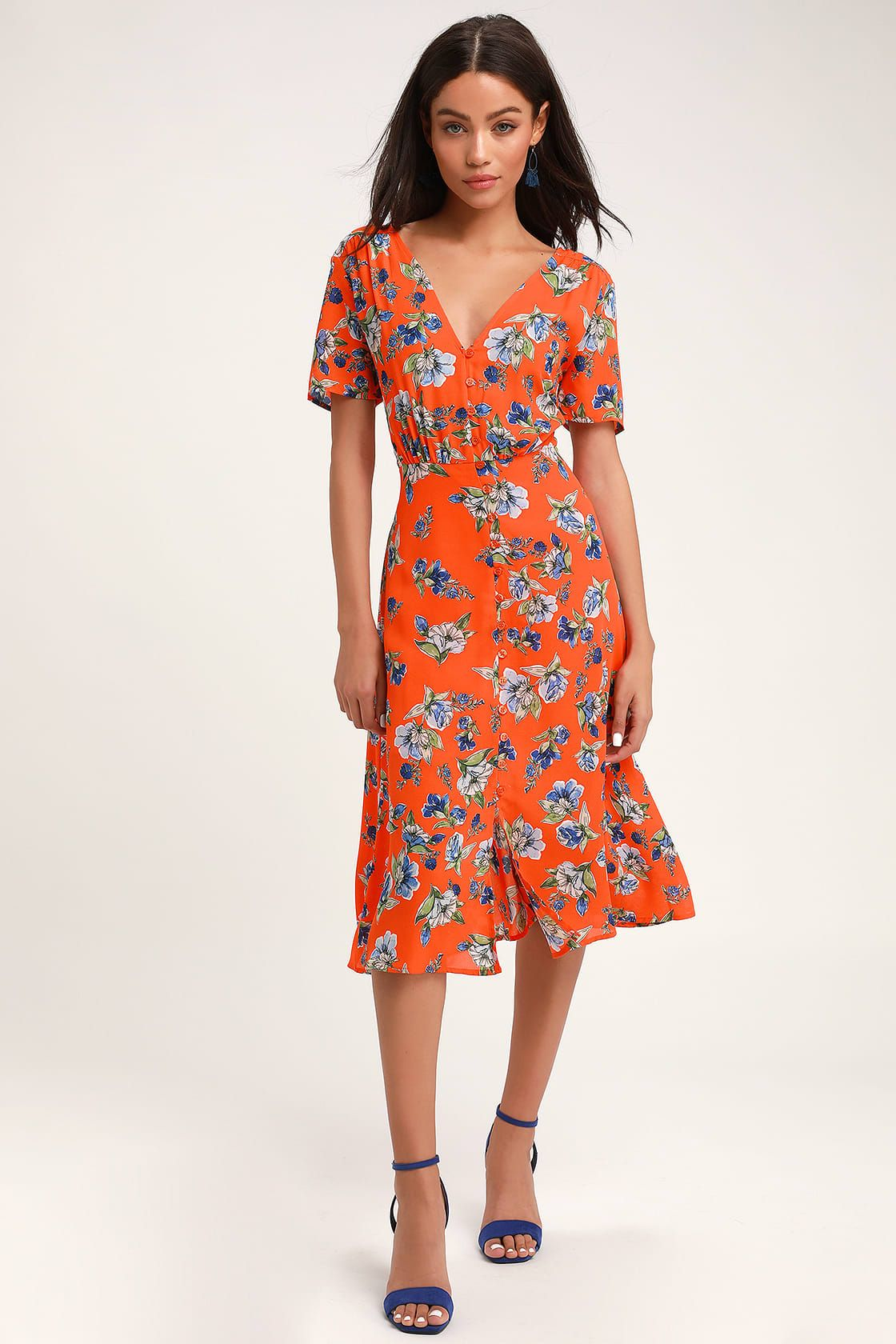 orange floral midi dress off 70% - plc.com.qa