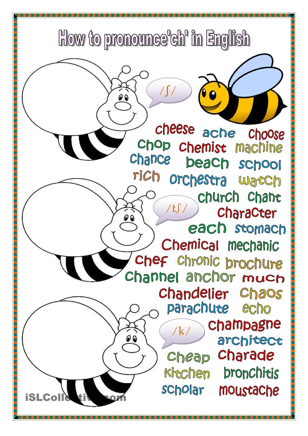 Workbooks pronunciation key worksheets : How to pronounce ch in English. (key included) | Pronunciation ...
