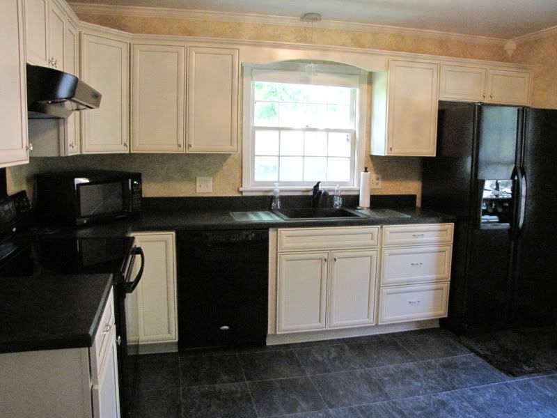 Kitchen Cabinets Black Appliances cream kitchen with black appliances | hand painted cream kitchen