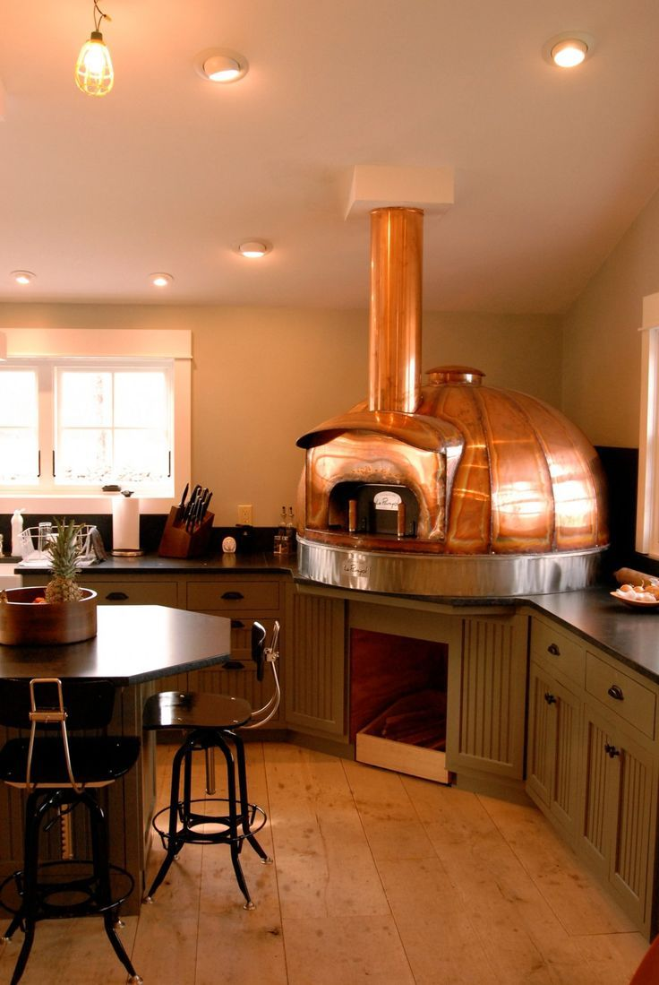 Indoor wood burning oven wood fired copper kitchen pinterest