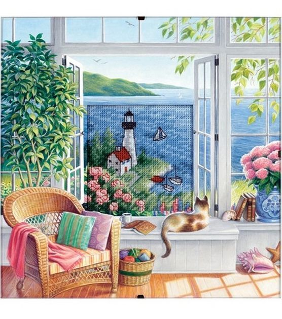 Dimensions Daydreams Beach Tranquility Counted X-Stitch Kit-8''X 8'', , hi-res