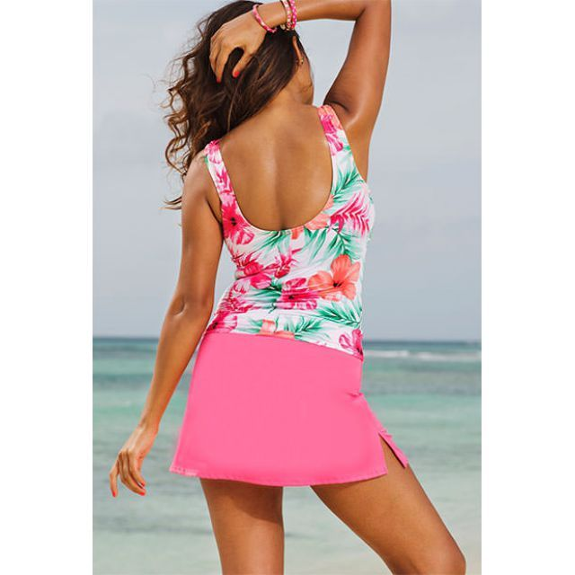 Shore Club Pink Hibiscus Slit Skirtini - swimsuitsforall
