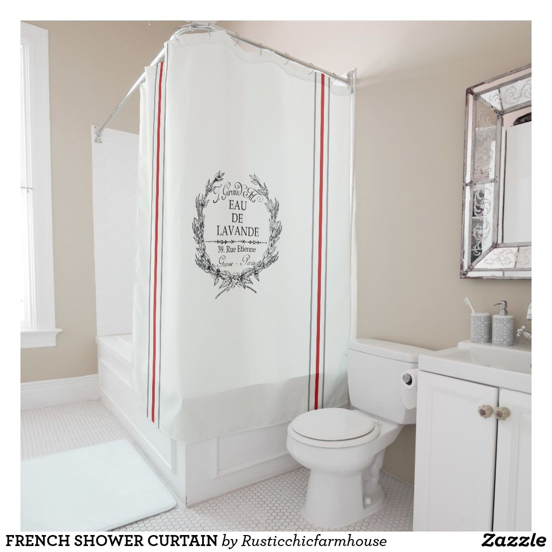 French Shower Curtain Zazzle Com Fabric Shower Curtains Curtains Farmhouse Shower Curtain